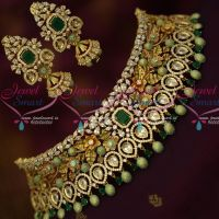 Floral Green Colour Gold Jewellery Look AD Sparkling Bridal Choker Necklace Latest Fusion Designs