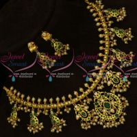 Emerald Green Stones One Gram Gold Jewellery Gutta Pusalu Necklace Pearl Collections Online