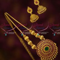 Traditional Gold Design Roll Kodi Beaded Chain Pendant Jhumka Earrings Covering Jewelry Online