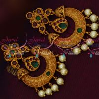 Matte Gold Finish Ruby Emerald Chand Bali Earrings Pearl Drops Shop Online Low Price