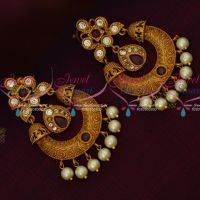 Matte Gold Finish Ruby Stones Chand Bali Earrings Pearl Drops Shop Online Low Price