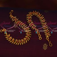 Ruby Stones Matte Gold Plated Earchains Artificial Jewellery Shop Online