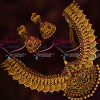 South Indian Traditional Coin Necklace Latest Matte Gold Look Jewellery Designs Online