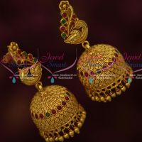 Antique Red Green Stones Low Price Peacock Jhumka Earrings Screwlock Imitation Jewellery