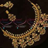 Multi Color AD Stones One Gram Gold Jewellery South Indian Gutta Pusalu Necklace