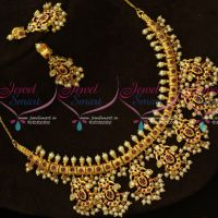 Ruby AD Stones One Gram Gold Jewellery South Indian Gutta Pusalu Necklace