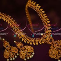 Intricately Designed Mango Haram Ruby Stones Matching Broad Earrings Shop Online