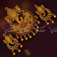 Lord Ganapathy Design Pendant Matching Earrings Temple Traditional Jewelry Online