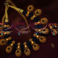 Dark Blue Dhaga Necklace Antique Gold Plated Trendy Fancy Jewellery Collections Online