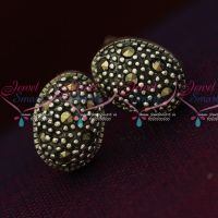 92.5 Silver Jewellery Small Oval Antique Oxidised Earrings Online