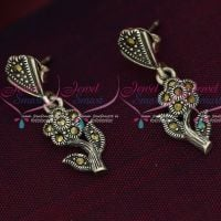 92.5 Silver Jewellery Hangings Flower Model Oxidised Finish Earrings Online