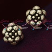 92.5 Silver Jewellery Small Flower Design Antique Oxidised Earrings Online