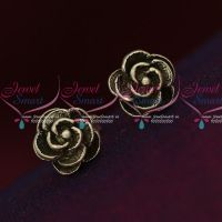 92.5 Silver Jewellery Small Rose Design Antique Oxidised Earrings Online