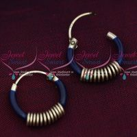 92.5 Silver Jewellery Small Bali Hook Dark Blue Earrings Kids Daily Wear Jewelry Online