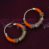 92.5 Silver Jewellery Small Bali Hook Orange Earrings Kids Daily Wear Jewelry Online