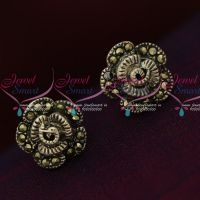 92.5 Silver Jewellery Small Floral Antique Oxidised Earrings Online