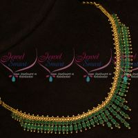 Marquise Emerald Green South Indian AD Fancy Gold Covering Jewellery Set Online