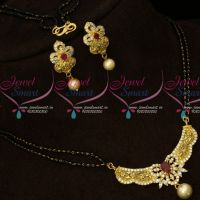 Two Line Long Mangalsutra AD Stones Matte Gold Plated Pendant Shop Online