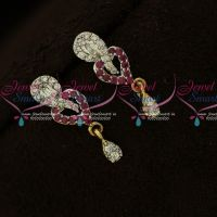 Ruby White Trendy Two Tone Plated AD Stones Ear Studs Online