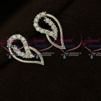 AD White Stones Silver Plated Stylish Ear Studs Shop Online