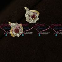 Ruby White Small Size Two Tone Plated AD Stones Ear Studs Online