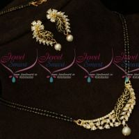 Two Line Long Mangalsutra AD White Stones Matte Gold Black Enamel Finish Jewellery