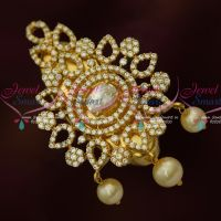 White Sparkling AD Jewellery Matching Saree Pins Brooches Online