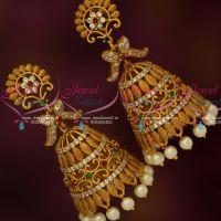 Floral Design Matte Antique Trendy Fashion Jewelry Jhumka Earrings