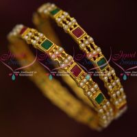Pearl Bangles 2 Pcs Set Gold Antique Jewellery Traditional Design Online