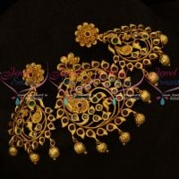 Intricately Designed Peacock Jewellery Antique Matte Gold Plated Pendant Sets Online