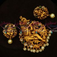 Lord Krishna Design Antique Traditional Pendant Set AD Stones Jewelry