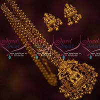 Beads Chain Temple Pendant Latest Antique Jewellery Matte Gold Plated Online
