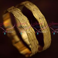 Broad Neli Curve Design Bangles 2 Pieces Set Gold Plated Daily Wear Jewellery Online