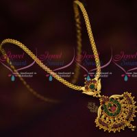Attiga Style Simple Flat Chain Pendant Necklace South Indian Traditional Design Online