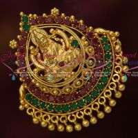 Double Naka Temple Pendant South Indian Ruby Emerald Gold Covering Jewelry Online