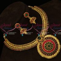Red Green Stones Setting Round Pendant Fashion Jewellery Necklace Gold Plated Design