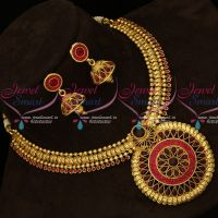 Red Stones Setting Round Pendant Fashion Jewellery Necklace Gold Plated Design