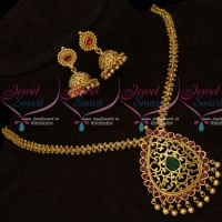 South Indian Gold Covering Ghajiri Chain Pendant Jhumka Traditional Collections