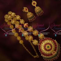 Gold Design Crystal Drops Beaded Jewellery Set Gold Plated South Indian Designs Online