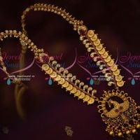 Temple Coin Peacock Pendant Real Gold Antique Look Imitation Jewellery Designs Online