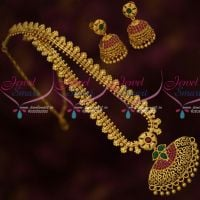 Floral Design Chain Ruby Green Pendant Matching Jhumka Earrings Latest Gold Covering Jewelry Online