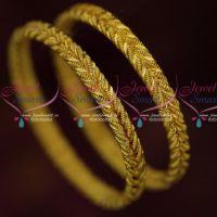 Daily Wear 2 Pcs Set Twisted Design Bangles Fancy Gold Covering Online