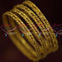 Daily Wear 4 Pcs Set Twisted Design Bangles Fancy Gold Covering Online