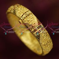 Single Piece Screw Open Light Weight Gold Covering Enamel Bangles Online