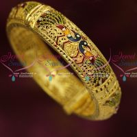 Peacock Meenakari Design Single Piece Screw Bangles Latest Gold Covering Jewellery