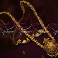 Traditional Temple Jewellery Beads Design Haram Peacock Jhumka Earrings Antique Gold Plated Imitation