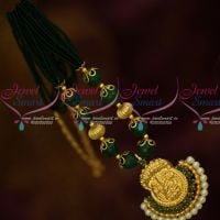 Green Beads Multi Strand Beaded Mala Temple Pendant South Indian Low Price Jewelry