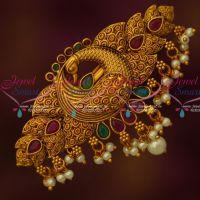 Peacock Design Stylish Matte Gold Plated Hair Clips Latest Jewelry Online