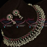 Round Kemp Stones Antique Silver Plated Fancy Bead Danglers Jewellery Set Online