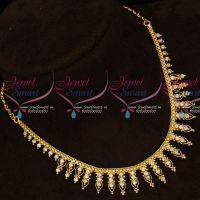 Kerala Style AD White Stones Gold Covering South Indian Necklace Online